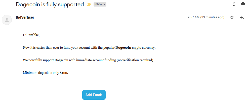 Bidvertiser Now Accepts Dogecoin Crypto Currency Payments for Ads